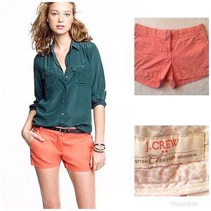 •J Crew Coral Chino Shorts•